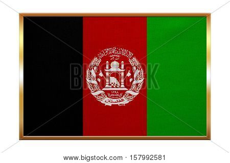Afghan national official flag. Patriotic symbol banner element background. Correct colors. Flag of Afghanistan golden frame fabric texture illustration. Accurate size color