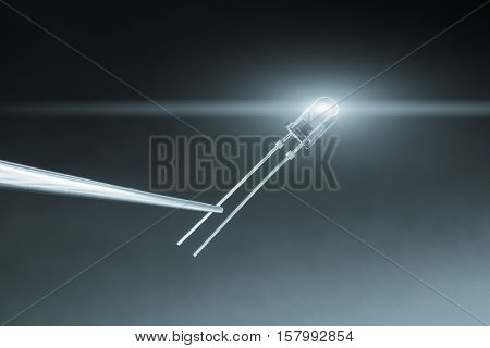 led diode on blue background. Blue toned Image