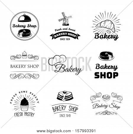 Bakery products and pastry Badges And Labels cupcake, cake, chef hat, bread, croissant. Menu restaurant. Pastry cook. Cooking. Baker Vector Illustration