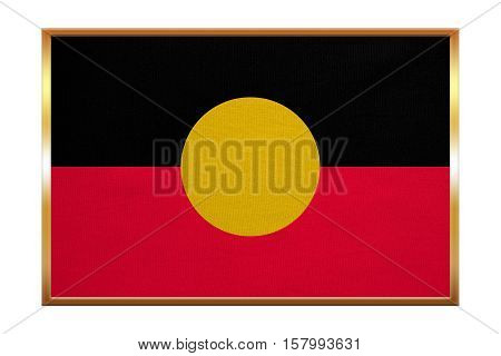 Australian Aboriginal official flag. Commonwealth of Australia patriotic symbol banner background. Correct colors. Australian Aboriginal flag golden frame fabric texture illustration. Accurate size