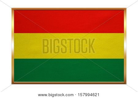 Bolivian national official flag. Patriotic symbol banner element background. Correct colors. Flag of Bolivia golden frame fabric texture illustration. Accurate size color