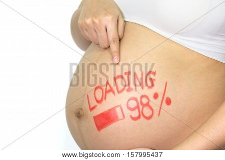 Pregnant Asian Woman with painted brush word - loading and figures 98% on white background idea of creativity concept.