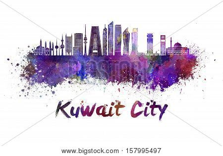 Kuwait City V2 skyline in watercolor splatters with clipping path