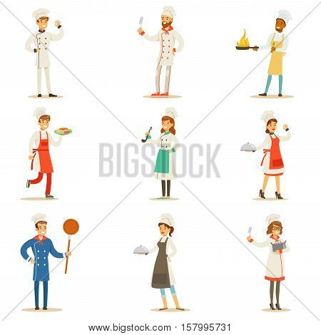 Professional Cooking Chefs Working In REstaurant Wearing Classic Traditional White Uniform Set OF Cartoon Characters. Collection Of Smiling Happy Cafe Cooks Preparing Food In The Kitchen Flat Vector Illustrations.