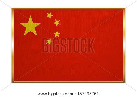 Chinese national flag. Symbol of the People's Republic of China. Patriotic PRC background design. Correct colors. Flag of China golden frame fabric texture illustration. Accurate size color
