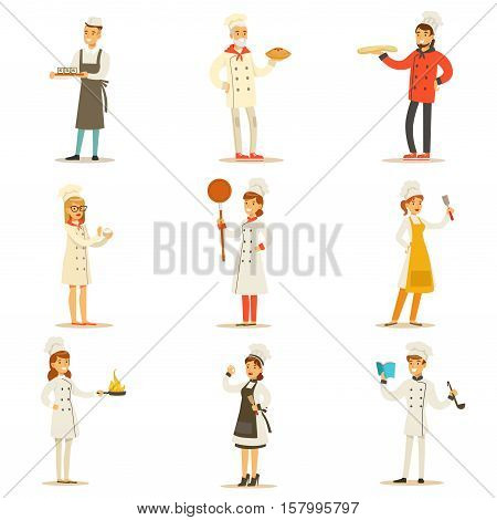 Professional Cooking Chefs Working In Restaurant Wearing Traditional White Uniform Set OF Cartoon Characters. Collection Of Smiling Happy Cafe Cooks Preparing Food In The Kitchen Flat Vector Illustrations.