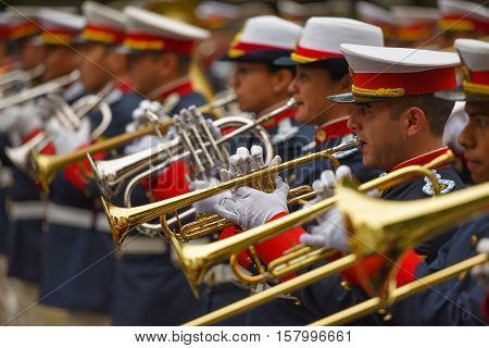 Buenos Aires, Argentina - Jul 11, 2016: Members of the Argentine military band perform at the parade during celebrations of the bicentennial anniversary of Argentinean Independence day.