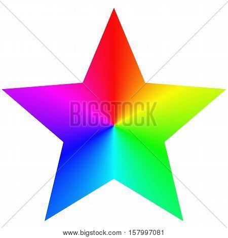 Isolated gradient rainbow pentagram star design template