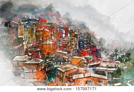 Digital watercolor painting of Manarola. Manarola is a small coastal village in the Italian region of Liguria Cinque Terre. Province of La Spezia. Italy.