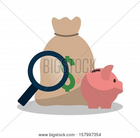 Bag piggy and lupe icon. Profit money commerce and economy theme. Isolated design. Vector illustration