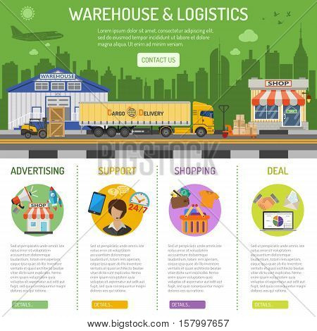 Warehouse and logistics infographics with flat Icons Set for e-commerce marketing and advertising with shop, delivery, truck, cityline and forklift. vector illustration