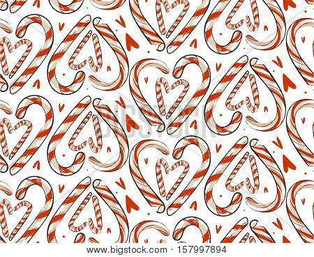 Hand drawn vector abstract Christmas seamless pattern with candy canes in heart shape isolated on white background.Christmas menu design.Happy New Year and Merry Christmas concept.Holiday candies.