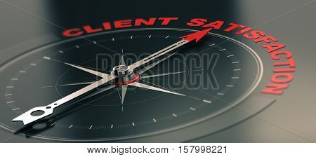 3D illustration of a conceptual compass with needle pointing the text client satisfaction Business or Marketing concept. Horizontal image red and black tones.