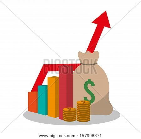 Bag and infographic icon. Profit money commerce and economy theme. Isolated design. Vector illustration
