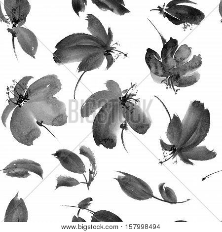 Plants with flowers and leaves. Ink painting in style gohua sumi-e u-sin. Oriental traditional painting. Seamless pattern.