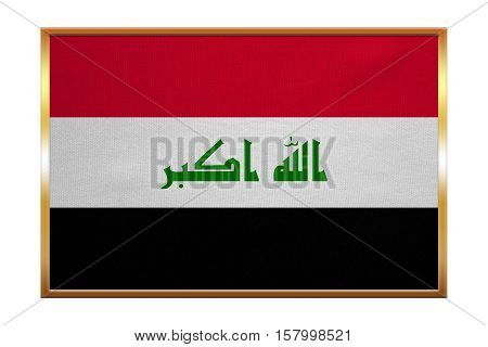 Iraqi national official flag. Irak patriotic symbol element background. Iraki banner. Correct colors. Flag of Iraq golden frame fabric texture illustration. Accurate size color