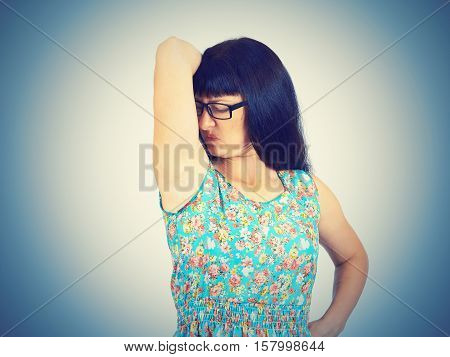 Young Woman, Smelling, Sniffing Her Wet Armpit, Something Stinks