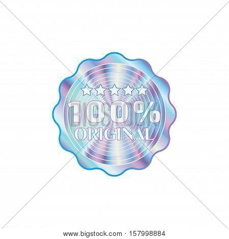 Holographic design illustration round wave shape sticker original quality emblem