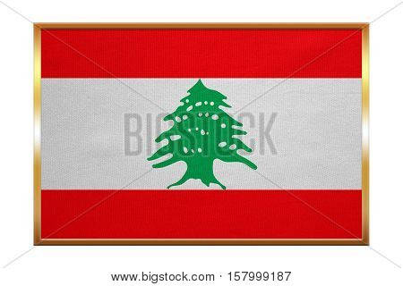 Lebanese national official flag. Patriotic symbol banner element background. Correct colors. Flag of Lebanon golden frame fabric texture illustration. Accurate size color