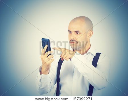 Man reading sms on your smartphone. Emotions.