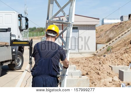 Construction worker at a construction site. Construction work.