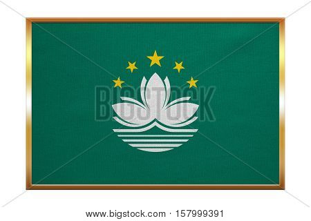 Macanese official flag. Patriotic chinese symbol banner element background. Macau is special region of PRC. Correct colors. Flag of Macau golden frame fabric texture illustration. Accurate size