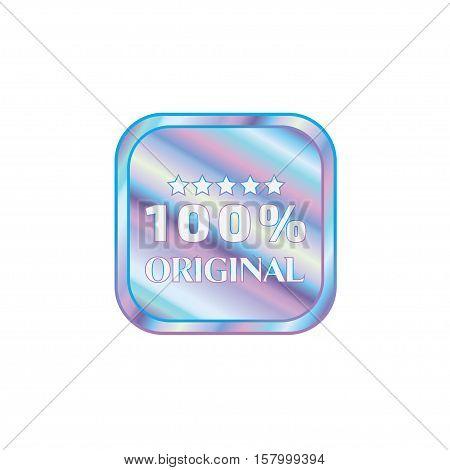 Holographic design illustration round square shape sticker original emblem