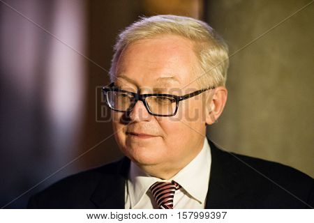 Buenos Aires, Argentina - October 21, 2015: Sergei Ryabkov during the ceremony for opening an exhibition dedicated to the 130th anniversary of diplomatic relations between Russia and Argentina.