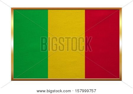 Malian national official flag. African patriotic symbol banner element background. Correct colors. Flag of Mali golden frame fabric texture illustration. Accurate size color