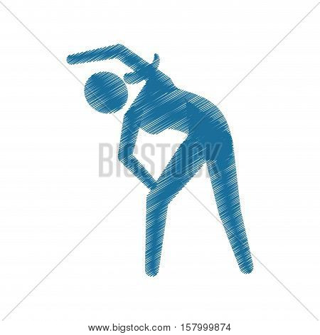 drawing colored silhouette sportwoman exercise fitness icon vector illustration eps 10