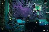 dark pcb board integrated circuit pc parts motherboard chip processor texture background poster