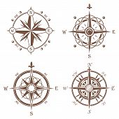 Isolated vintage or old compass rose icons. Sea or ocean navigation compass for ocean or sea boat or ship. May be used for retro cartography icon or traveler compass sign, adventure rose. poster