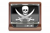 Piracy concept 3D rendering. TV set with pirate flag isolated on white background poster