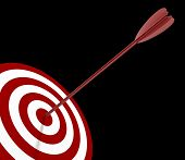 Solo Red and White target with arrow - isolated on black poster