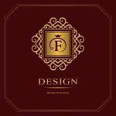 Monogram design elements graceful template. Calligraphic elegant line art logo design. Gold Letter emblem sign F for Royalty business card Boutique Hotel Heraldic Jewelry. Vector illustration poster