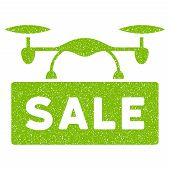Airdrone Sale grainy textured icon for overlay watermark stamps. Flat symbol with scratched texture. Dotted vector eco green ink rubber seal stamp with grunge design on a white background. poster