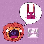 Cute lion with open mouth dreams of a rabbit. Animal instinct concept. Handmade cartoon style poster