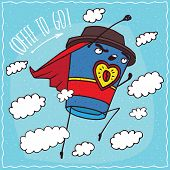 Heroic anthropomorphic character paper cup of coffee with red cloak looks like Superman flies into the sky with outstretched arm. Coffee to go concept poster