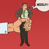 Employer Big Hand Squeezes Pop Art Office Worker. Oppression at Work. Vector illustration poster