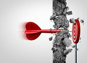 Breaking Through for success without limits and overcoming obstacles as a concrete wall to achieve a goal as a metaphor for a cure or business goals and hitting a financial target with 3D illustration elements. poster