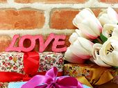 love word background with decortion valentine's day concept poster