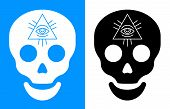 Third eye symbol over human skull icon for concept about death and seeing into the future vector illustration poster