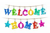 Colorful Welcome Home banner with letters design as hanging tags on a string with two stars for a festive homecoming celebration vector illustration on white poster
