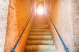 The stairs going up to the light