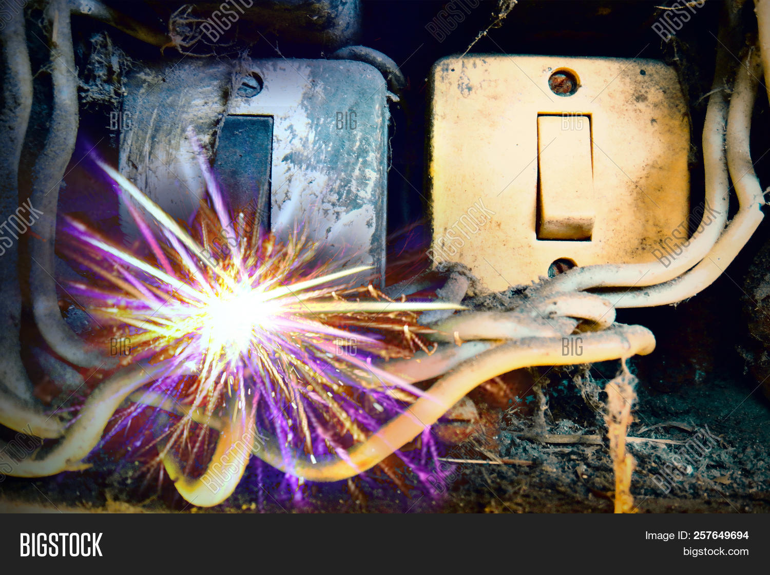 electricity short circuit, electrical failure resulting in electricity wire  burnt  old electric power supply boxes  industrial background