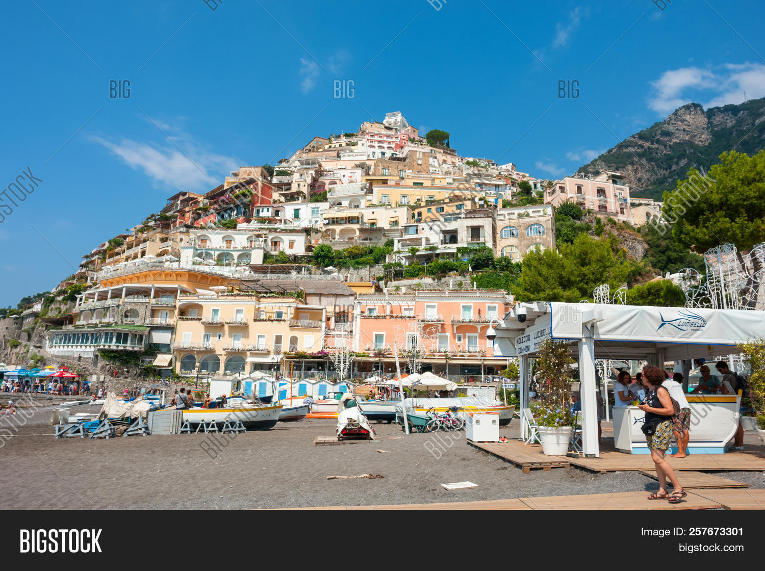 Positano Italy August 2 2018 People At Beach In Amalfi
