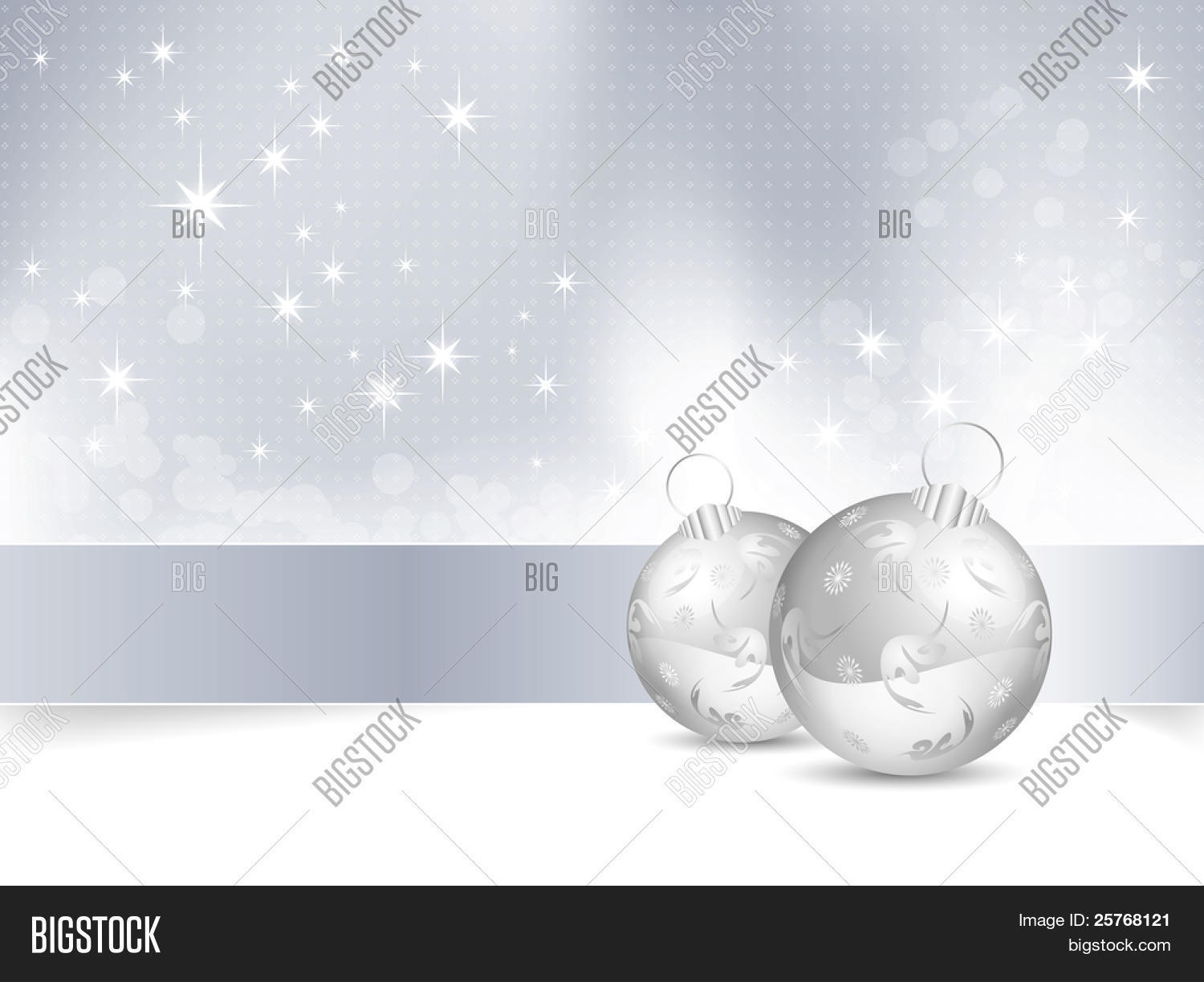 blue and white christmas background with christmas balls raster illustration - White Christmas Balls