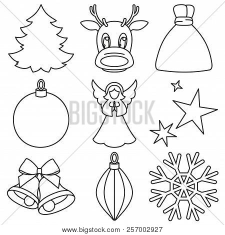 black and white line art 9 xmas elements new year holiday decorations christmas themed