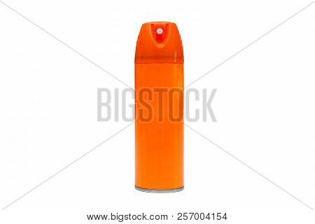 A Spray Bottle In Orange Color Isolated On White
