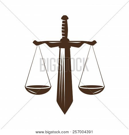 Justice, Judgment Icon. Law Office, Attorney, Lawyer Logo Or Label. Judicial Scales And Sword Symbol